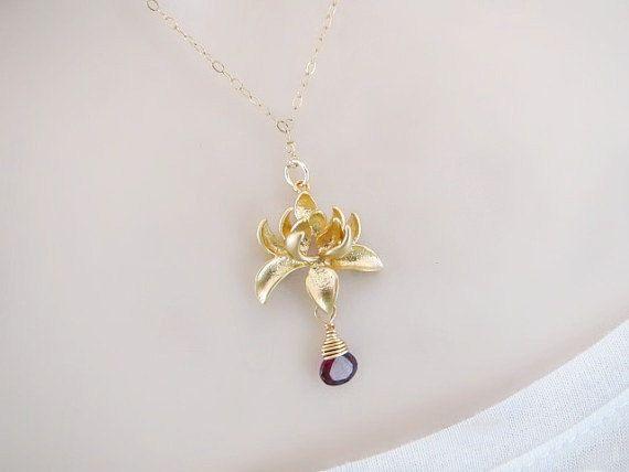 Pendant Necklace Gold Necklace Dainty Necklace Flower Necklace custom Jewelry, Minimal Necklace Birthstone Necklace Lotus Necklace
