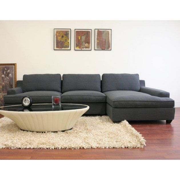 Wholesale Interiors Kaspar Gray Twill Sectional Sofa Sectional