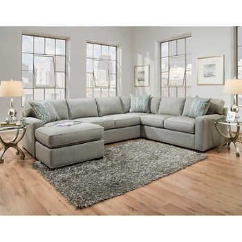 Perfect Light Colored Couch To Match Dark Blue Walls Karissa Fabric Sectional Gray