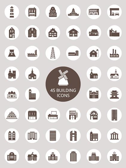 建物がテーマのベクターアイコンセット 家や風車に灯台など