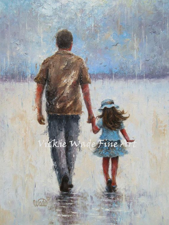 Father And Daughter Art Print Dad Daughter Paintings Walking Dad