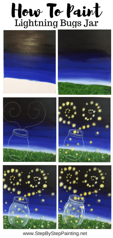 How To Paint Fireflies and Mason Jar