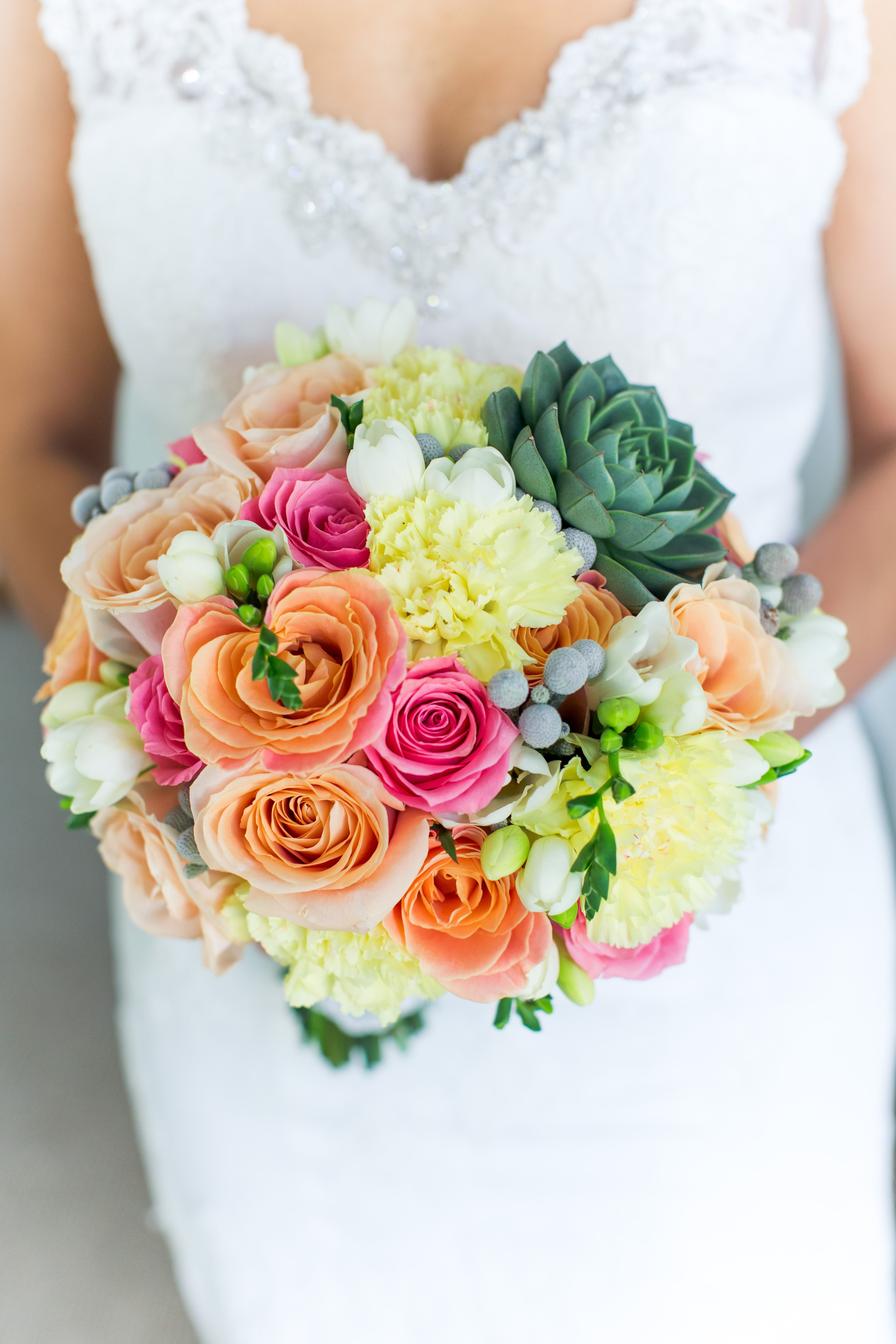 Bridal Bouquet In Yellow Peach Pink Colors With Miss Piggy Roses Freesia Brunia Succulent Carnations Peach Wedding Bouquet Peach Wedding Bridal Bouquet