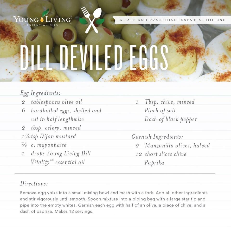 Young Living Essential Oils: Dill Deviled Eggs Recipe   Young living food recipes   Pinterest ...