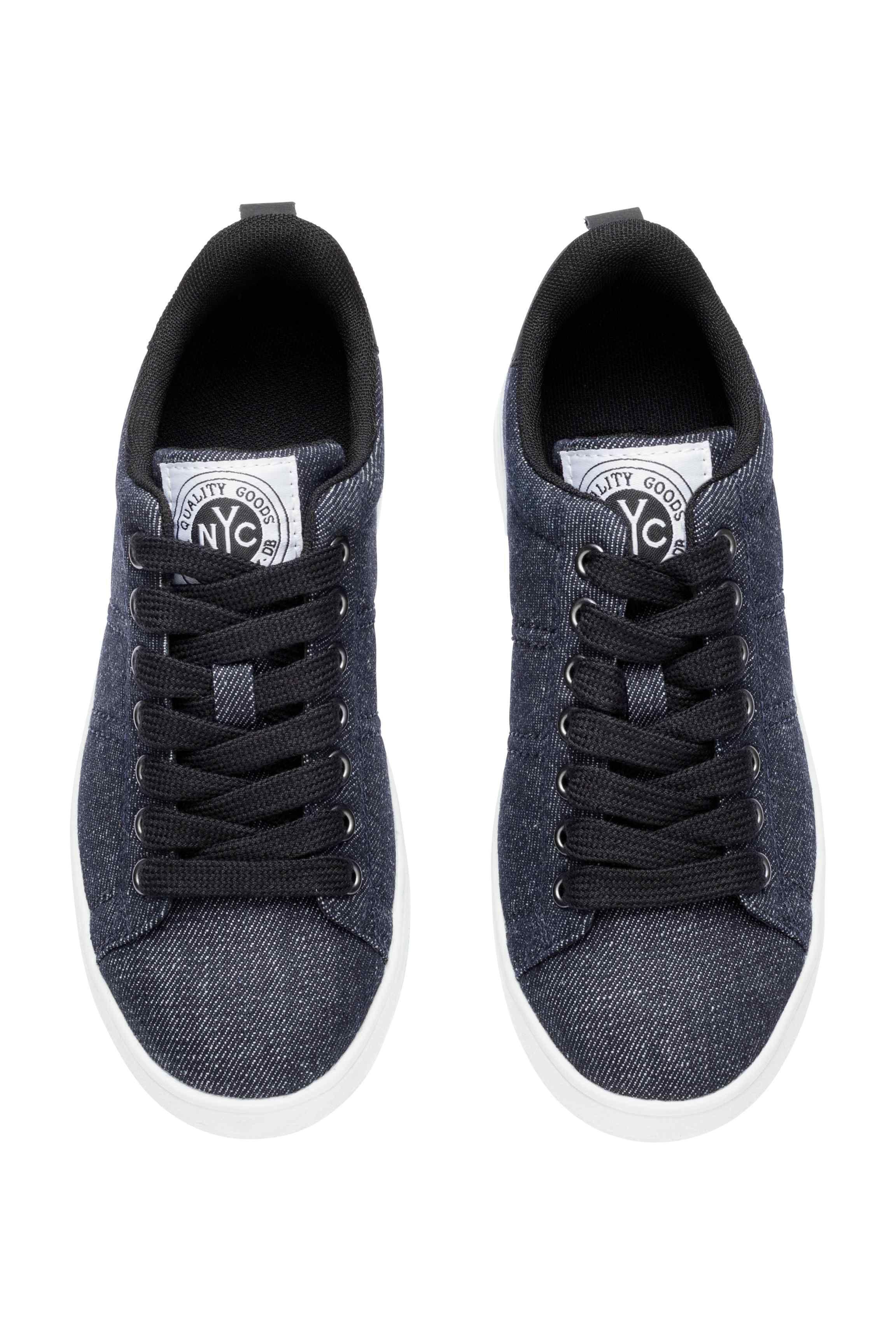 Dzinsowe Buty Sportowe Ciemnoniebieski Denim Dziecko H M Pl Black Sneaker Baby Shoes All Black Sneakers