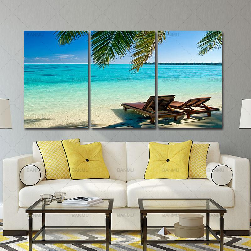 3 Panel Sea Scenery With Beach Modern Wall Art For Wall Decor Home