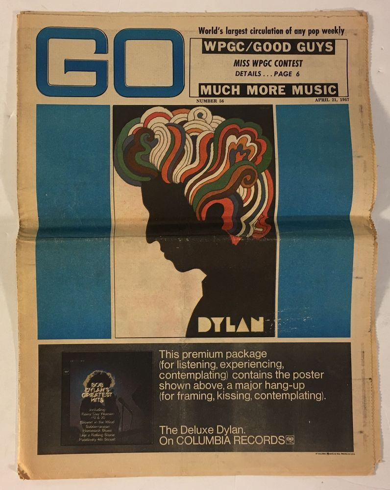 GO Pop Weekly Newspaper Magazine #56 April 21, 1967 - Bob Dylan Cover - WPGC