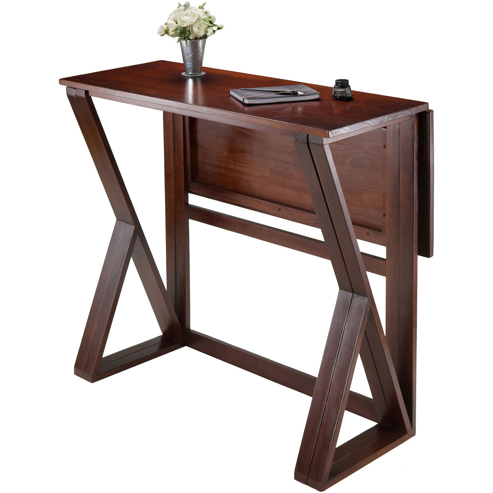 Dual Drop Leaf Dining Table High Solid Wood Home Kitchen Small Spaces Walnut Set Ebay With Images Counter Height Dining Table Drop Leaf Dining Table