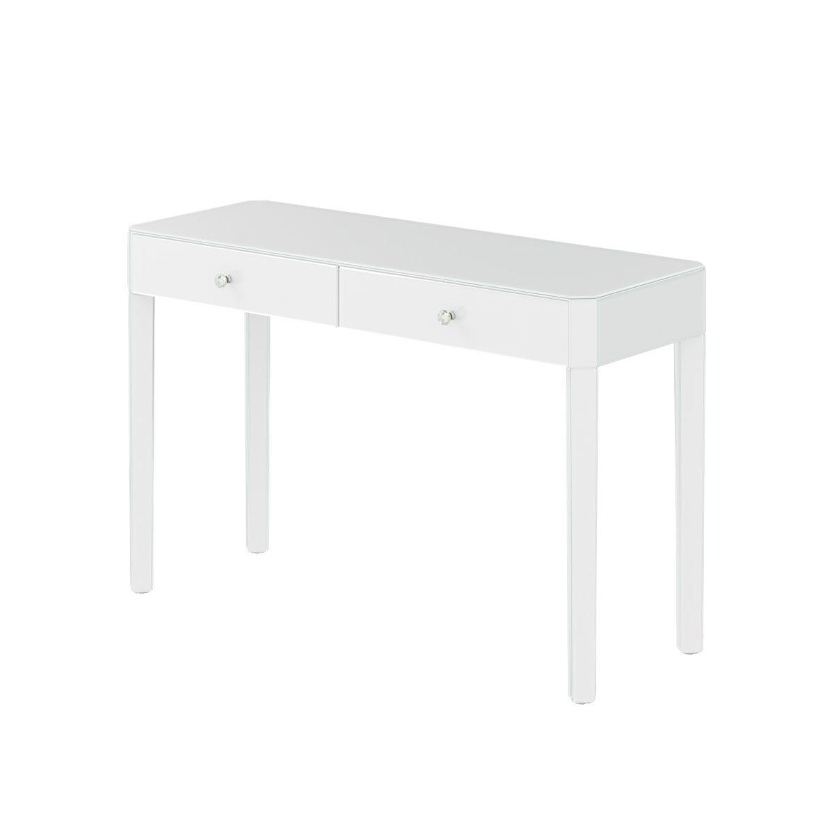 Reflections White Glass 2 Drawer Dressing Table