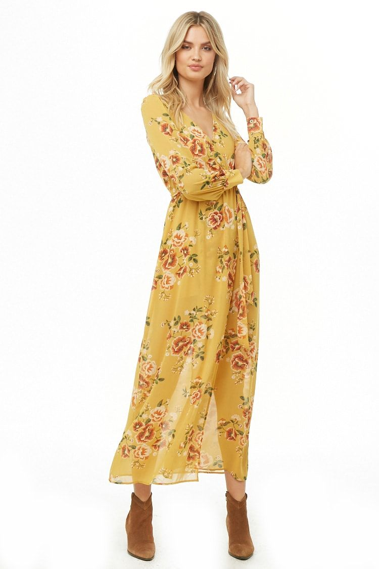 Floral Print Faux Wrap Maxi Dress Dress Boots Floral Yellow I Love Photographing Yellow Floral Dress Casual Floral Dresses Long Printed Long Dresses