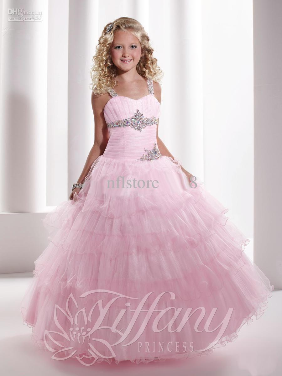 17cf4fb491 Ball Gown Spaghetti Rhine Stones Organza Flower Girl Pageant Dresses ...