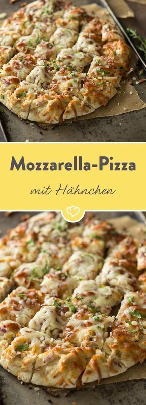 pizza vom blech mit h hnchen mozzarella und kr utern rezept rezepte pinterest. Black Bedroom Furniture Sets. Home Design Ideas