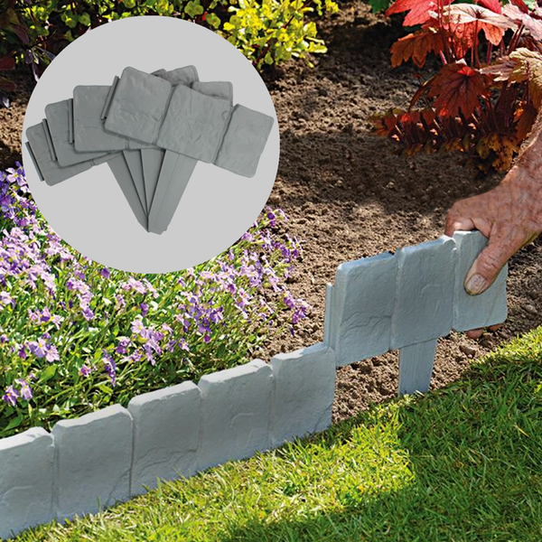 5m Grey Stone Effect Lawn Edging Pack Of 20 Pukkr Garden