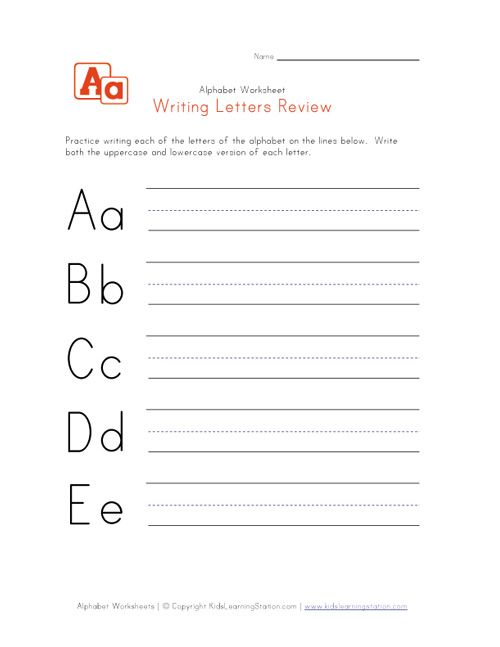 writing letters for preschool printable