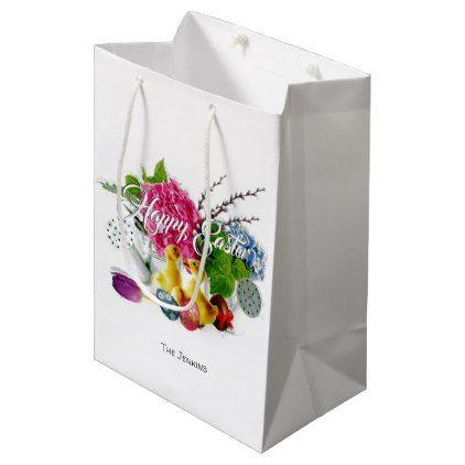 Watercolor easter eggs ducklings spring flowers medium gift bag negle Images
