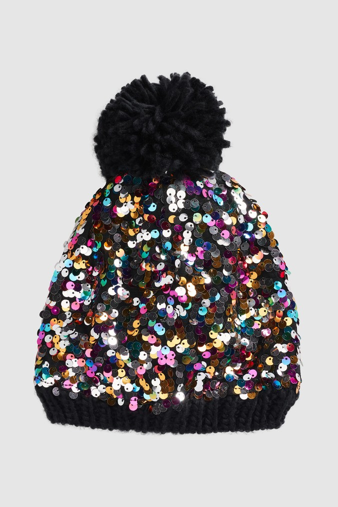 Womens Next Multi Sequin Pom Hat - Black  f9c139881f3