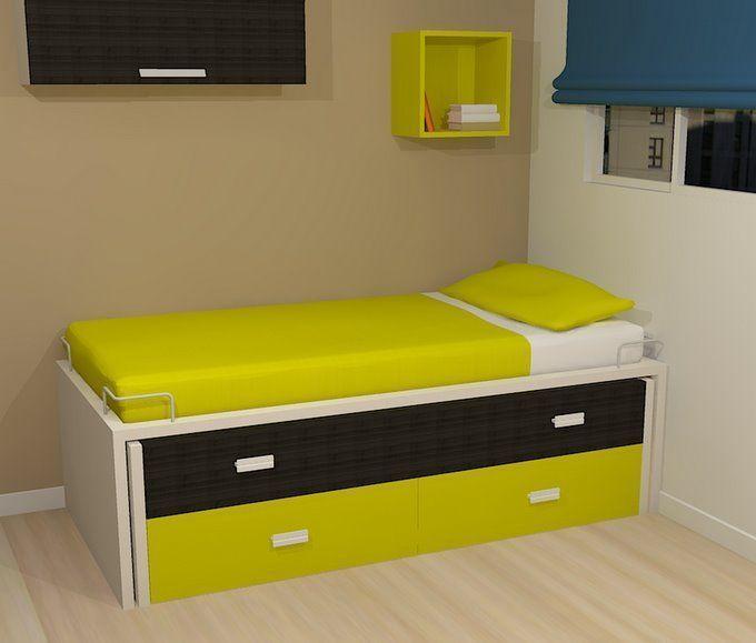 Compacta con cama desplazable y cajones cama alta base - Cama compacta con cajones ...