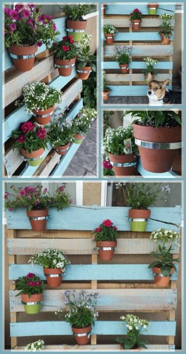 Diy Pallet Flower Pot Holder Made With A Pallet Leftover