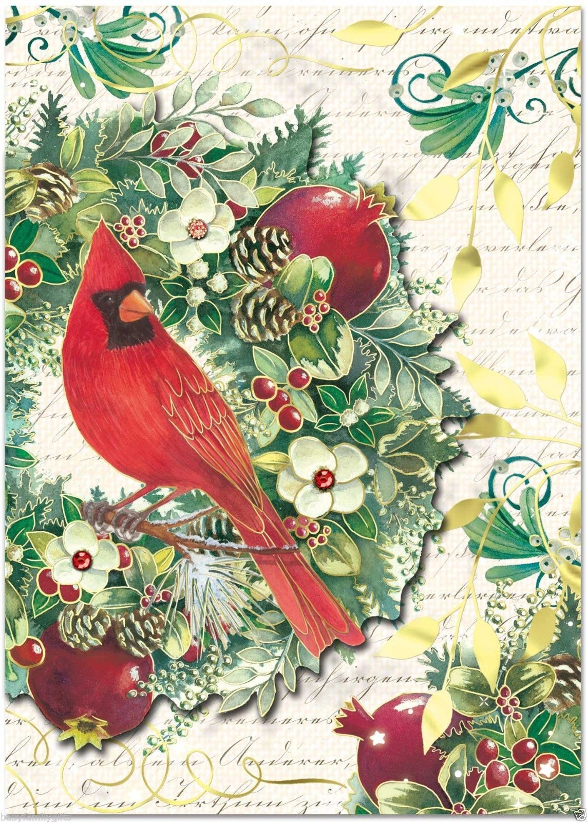 Punch studio christmas dimensional holiday greeting cards cardinal punch studio christmas dimensional holiday greeting cards cardinal wreath 50333 ebay m4hsunfo