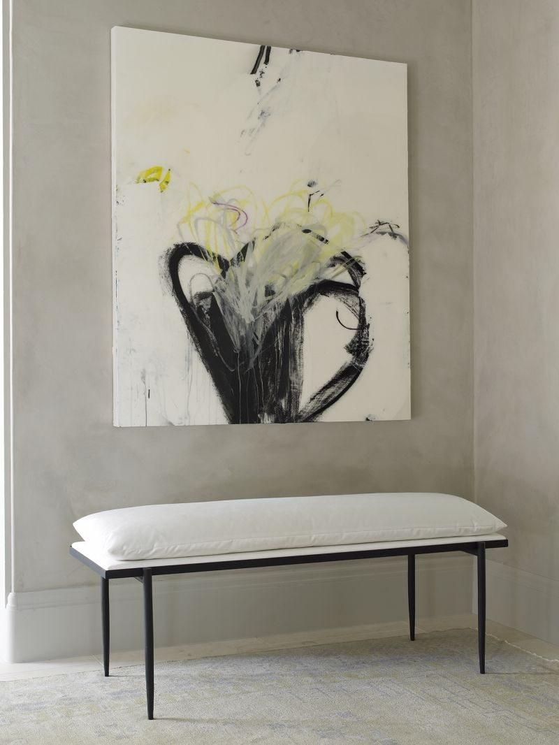 Contemporary hallway ideas  Abstract wall art  upholstered white cotton bench  modern