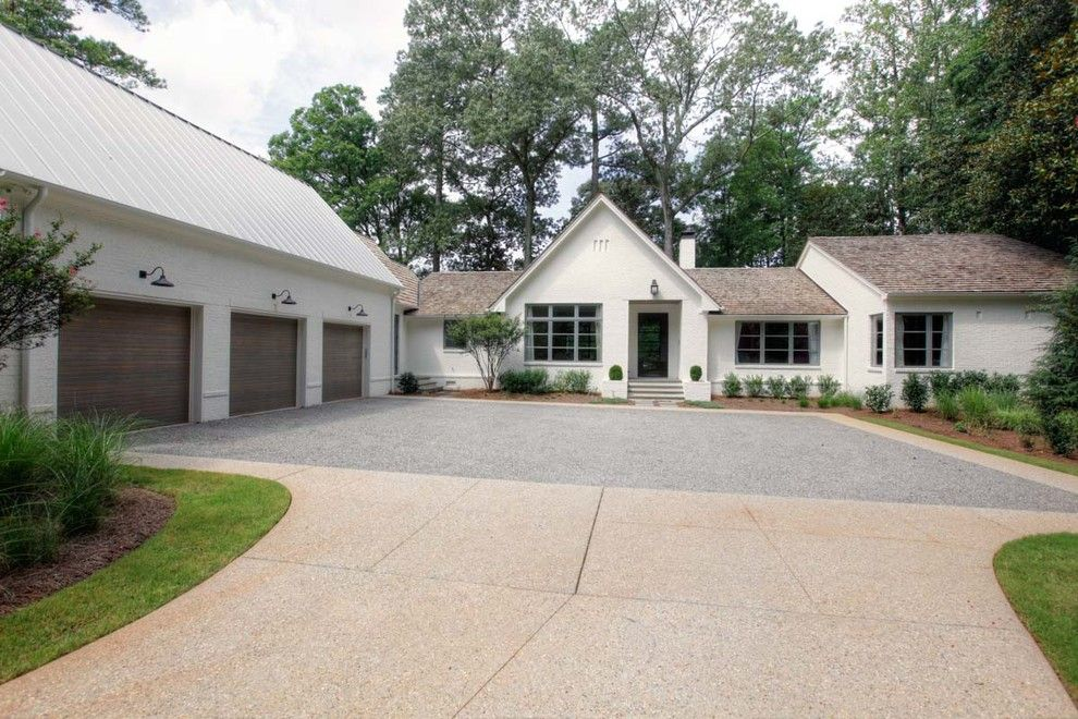 Pea Gravel Driveway Exterior Farmhouse With Modern