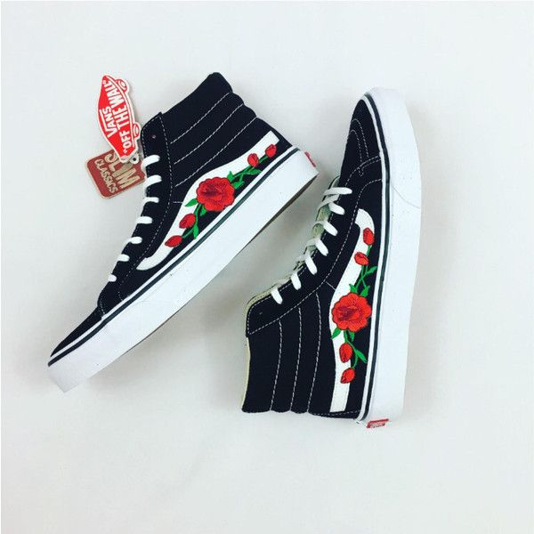 226987df8d80 Old Skool Vans Custom Sneakers High Top Shoes Embroidered Vans Vans...  ( 110) ❤ liked on Polyvore featuring shoes