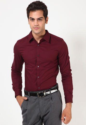 Solid Maroon Formal Shirt Maroon Shirts Shirts Formal