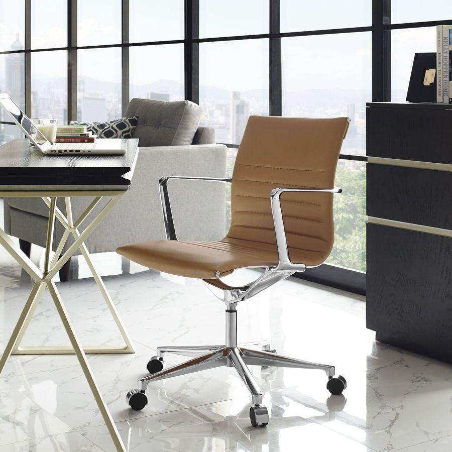Vi Modern Tan Vinyl Aluminum Mid Back Office Chair