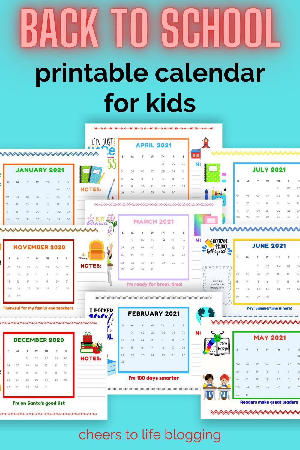 Back to School Printable Calendar for Kids (Made by a Kid
