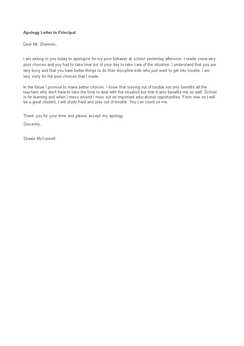apology letter to principal  how to write an apology