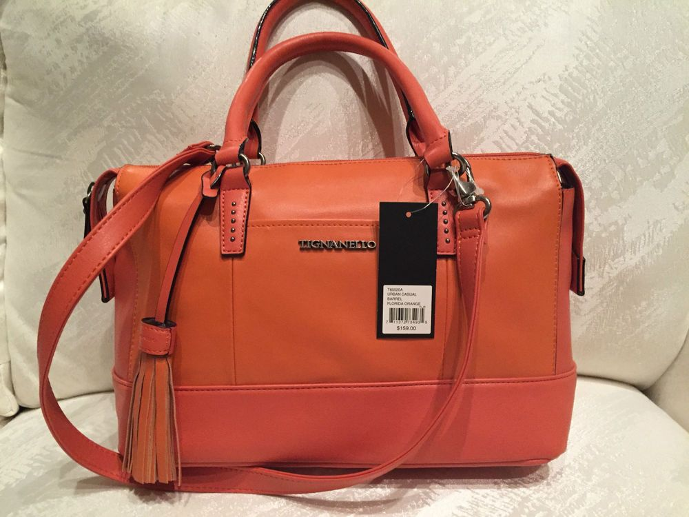 TIGNANELLO Purse Convertible Satchel Leather Crossbody Bag  Orange NWT $165.00 #Tignanello #Satchel