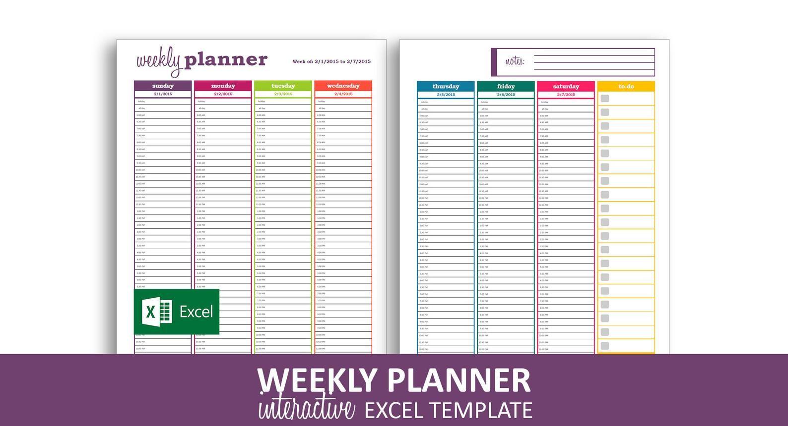 Dynamic Weekly Planner Excel Template Printable Weekly