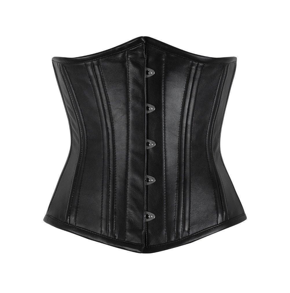 Strong Black Underbust Leather corset Waist trainer wide belt full steel boned