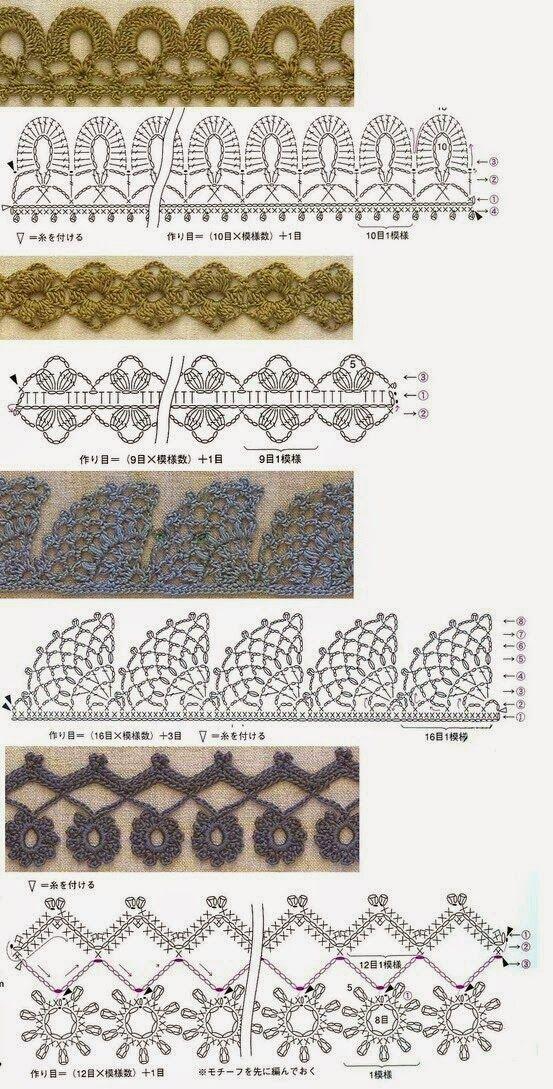 patrones de puntillas y cenefas | Μοτίβα | Pinterest | Crochet ...