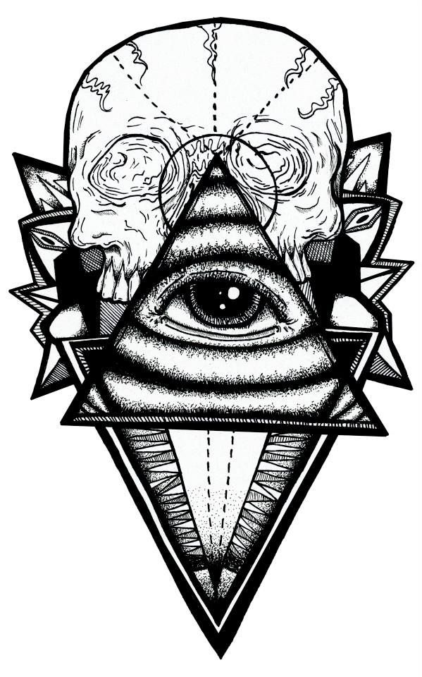 My Art Design Skull And All Seeing Eye