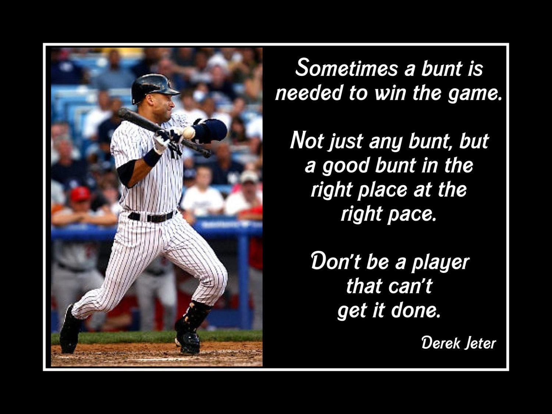 Good Baseball Quotes Baseball Motivation Poster Derek Jeter Photo Quote Wall Art Print