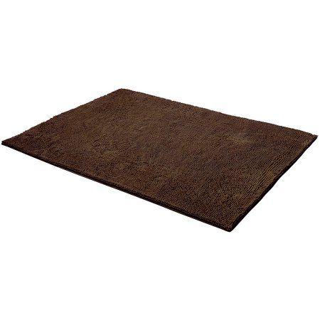 Bounce Comfort Chenille Plush Shag Bath Mat, Brown