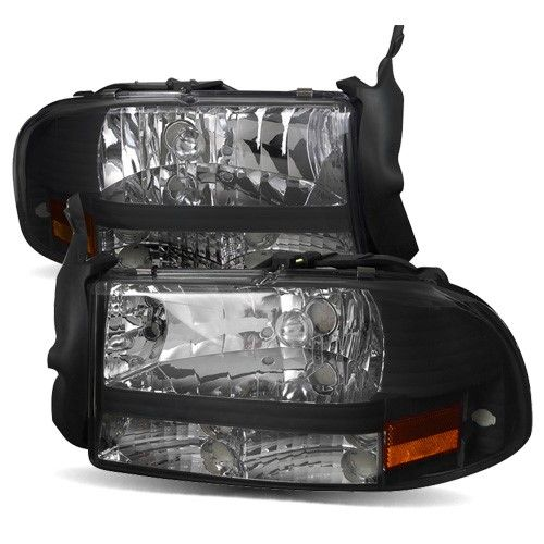For 97 04 Dodge Dakota 98 03 Durango 1pc Black Crystal Headlights Lamps Pair Dodge Dakota Dodge Durango Car Hacks