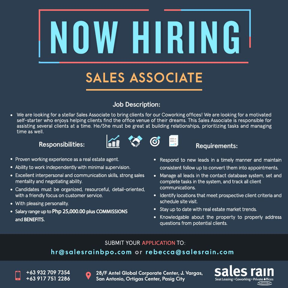 We Re Hiring Sales Rain Is Looking For A Passionate And Strong Minded Sales Associate That Can Assist Us In Developing Motivation Strong Mind Sales Associate