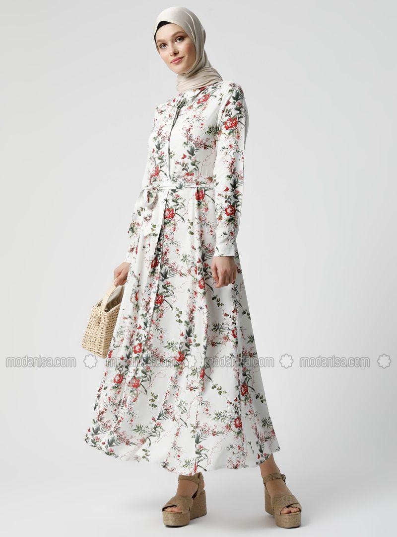 En Guzel Tesettur Elbise Modelleri Beyaz Kirmizi Cicekli Fransiz Yaka Astarsiz Kumas Viskon Elbise Https Ift Tt 3d0 2020 Elbise Modelleri Elbise Uzun Elbise