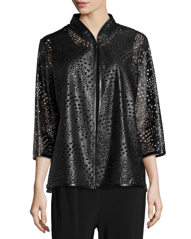 Leather jacket xl size - Laser Cut Faux Leather Jacket Petite Women S Size Petite