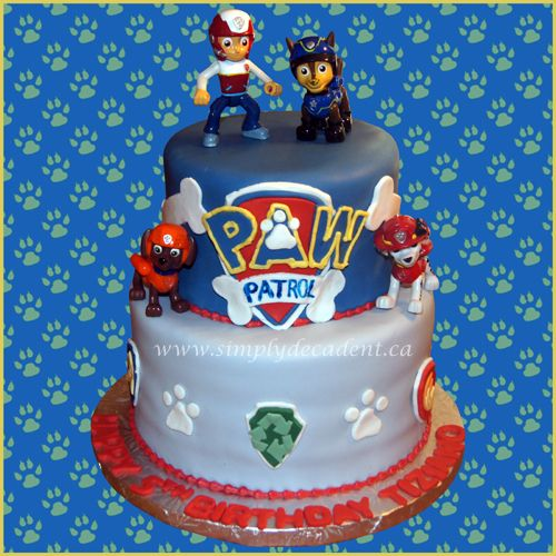 2 Tier Fondant Paw Patrol Birthday Cake with Ryder, Chase, Marshall & Rubble