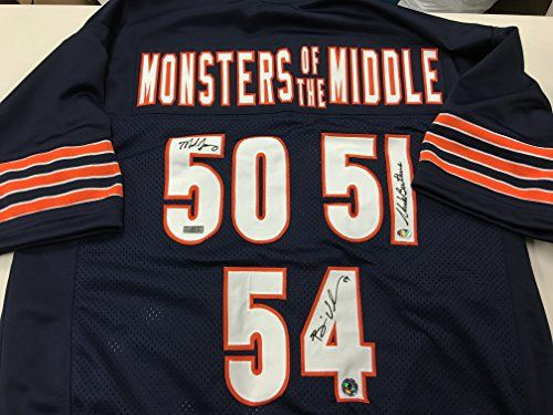 official photos 5d6b8 b0fbe Urlacher Butkus Singletary Triple Signed Monsters Of Middle ...