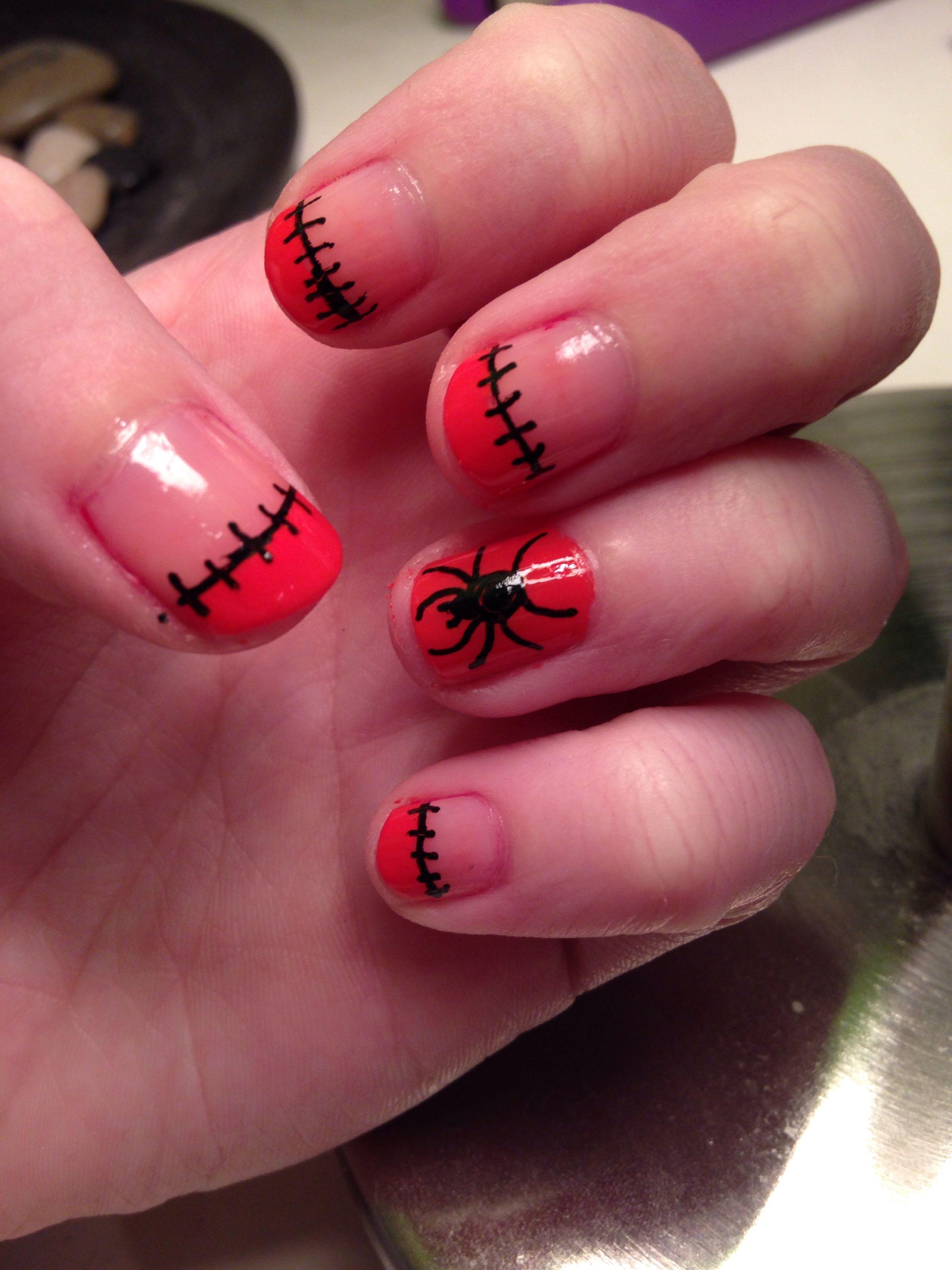 Halloween nail art. Orange spider and stitches   Nail Art ...