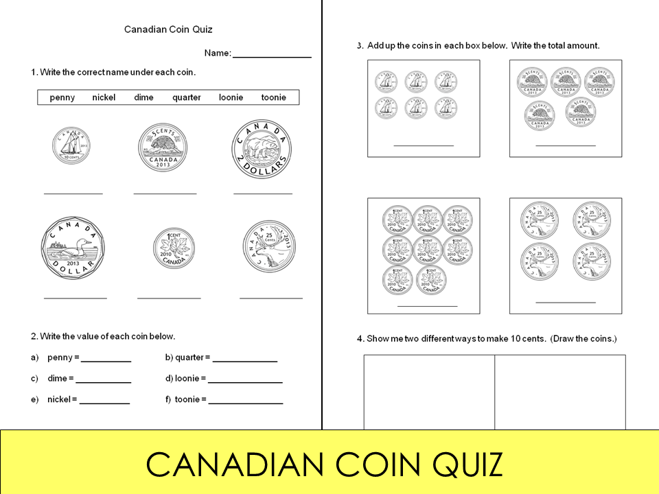 FREE! A short quiz on identifying the Canadian coins (penny, nickel ...