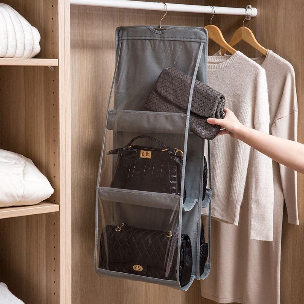 Hanging Handbag Organizer Purse Storage Closet Hanging Shelf Organizer 6 Pockets