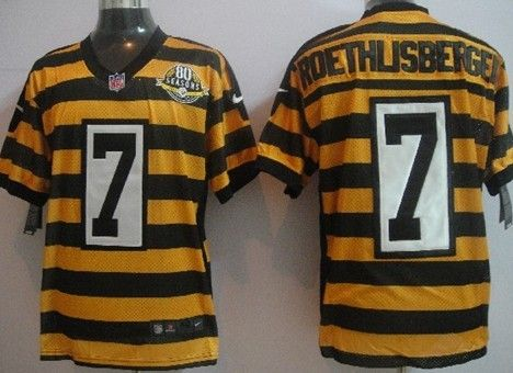 Nike Pittsburgh Steelers  7 Ben Roethlisberger Yellow With Black Throwback  80TH Jersey 4805cdec6