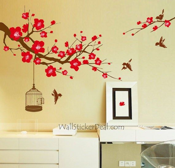 flower wall stickers ikea pictures decorating colorful cherry ...