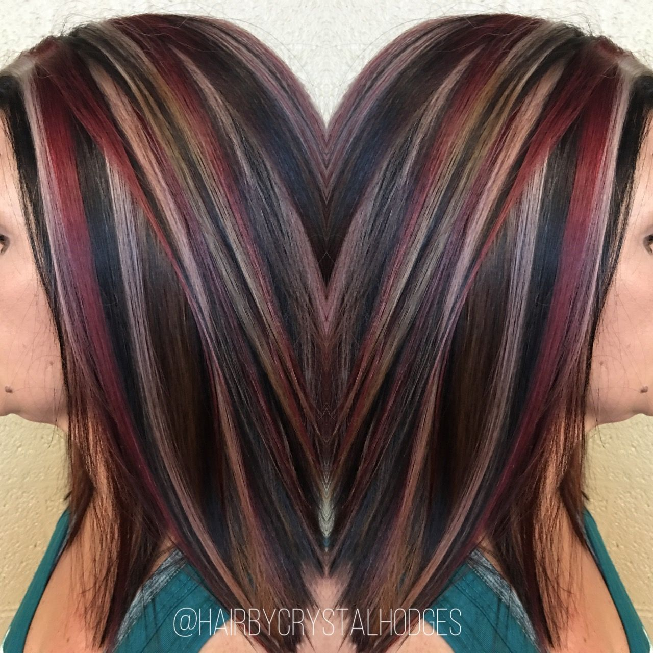 Chunky highlight red blonde brown http://niffler-elm ...
