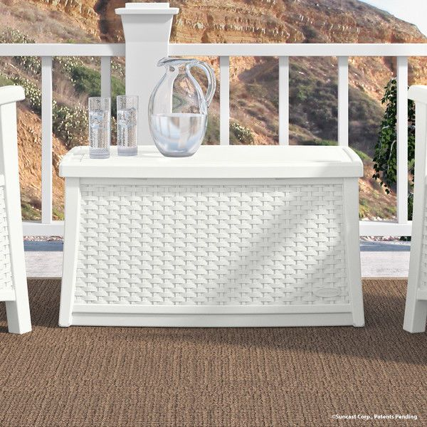 Home Coffee Table Contemporary Design with Storage Stylish Wicker Rattan White #Suncast